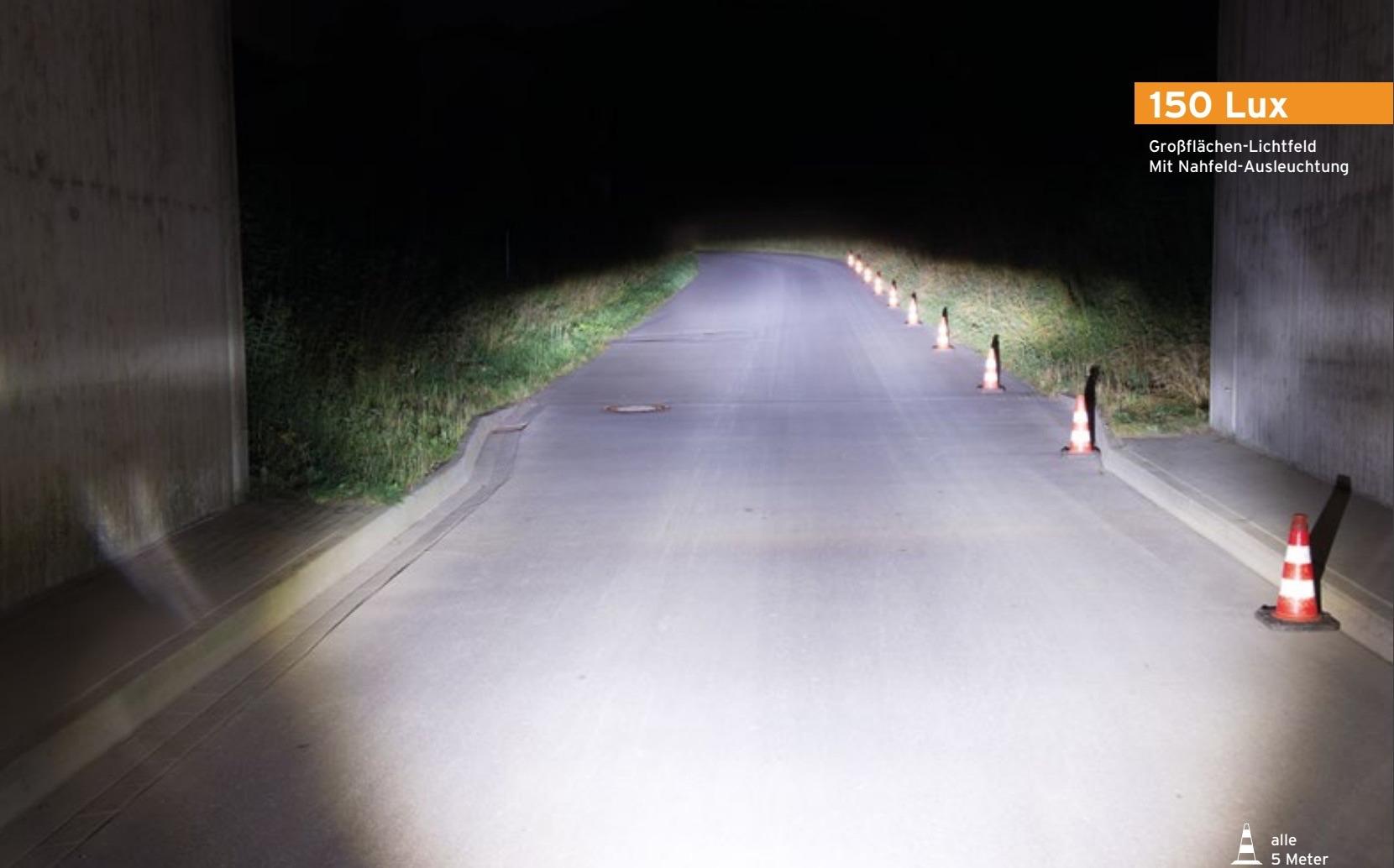 Lichtfeld eines 150-Lux-Fahrradscheinwerfers von Busch+Müller