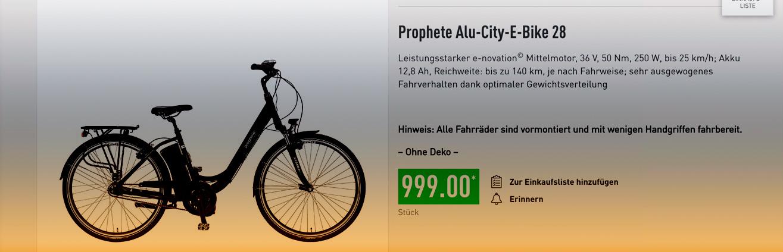 Prophete Alu-E-Bike City von Aldi