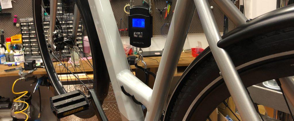Nur 16,8 kg Gewicht beim Testrad