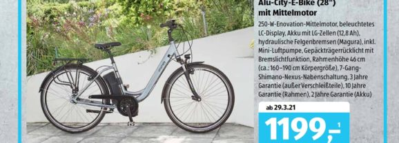 Wieder ein Aldi E-Bike: Prophete Alu-City (2021)