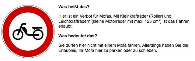 Schild Mofa Verbot