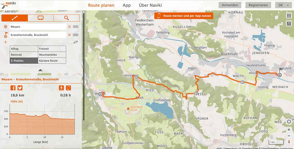 Navigation fürs S-Pedelec mit Naviki