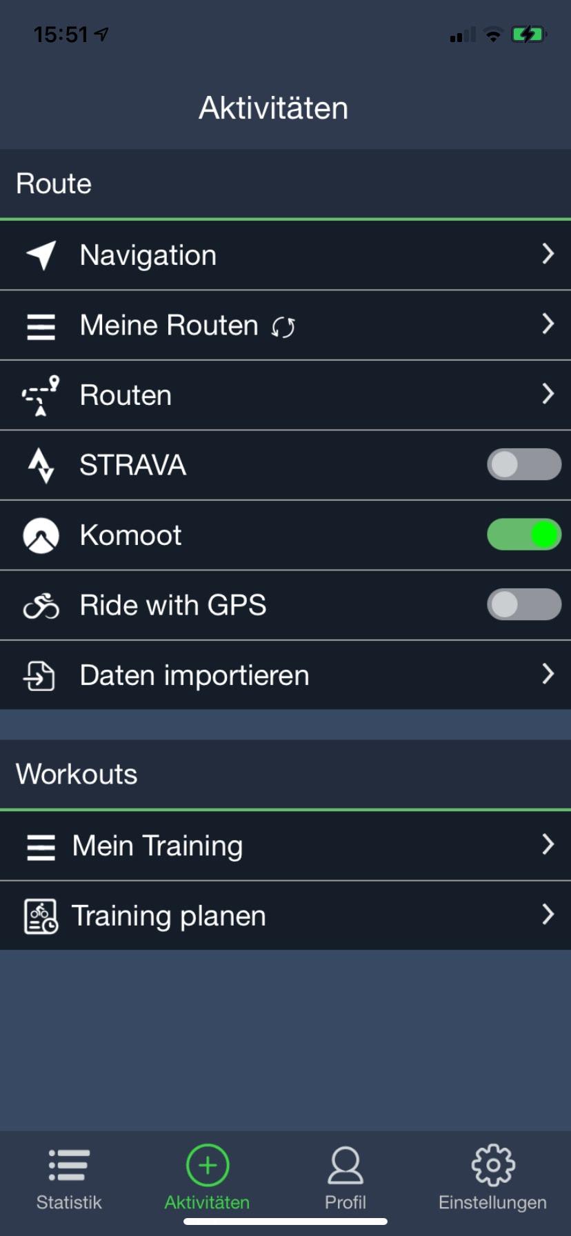 Aktivitäten-Screen mit Verbindungen in der Bryton Active App